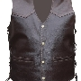 Leather bikervest in Brown 596